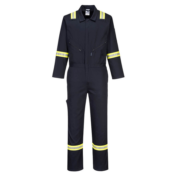 PortWest Enhanced Visibility Navy Iona Cotton Coverall F129 Front