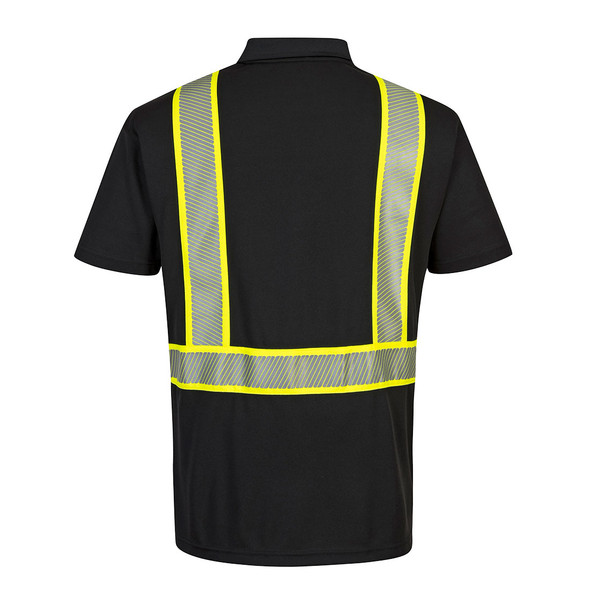 PortWest Enhanced Visibility Black Iona Polo Shirt F140 Back