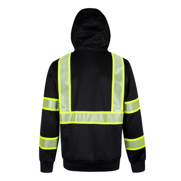PortWest Enhanced Visibility Black Iona Hoodie F143 Back