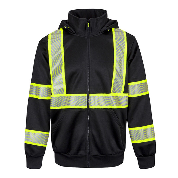 PortWest Enhanced Visibility Black Iona Hoodie F143 Front