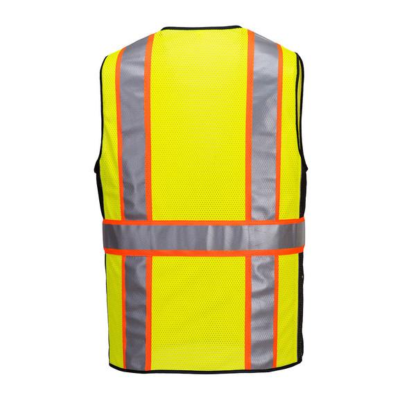 PortWest Class 2 Hi Vis Yellow Black Trim Mesh Surveyor Vest US377 Back