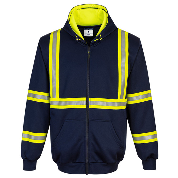 PortWest Enhanced Visibility Navy Iona Hoodie F130 Front