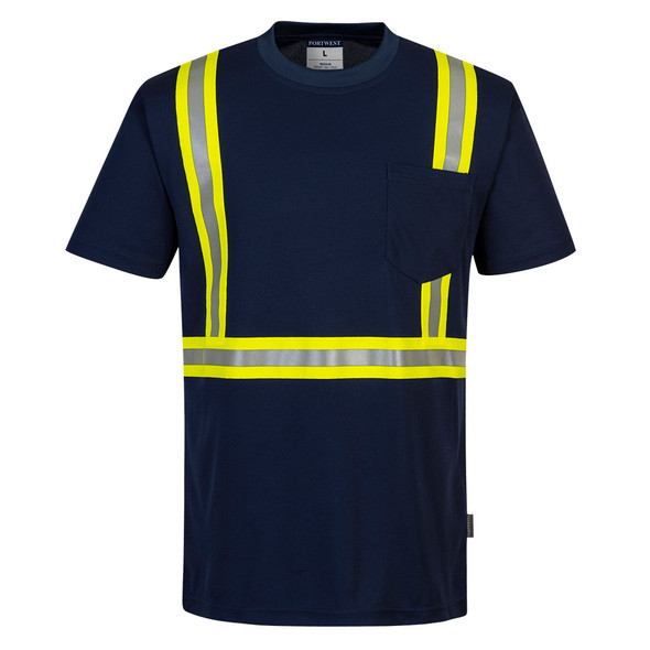 PortWest Enhanced Visibility Navy Iona Moisture Wicking T-Shirt F131 Front