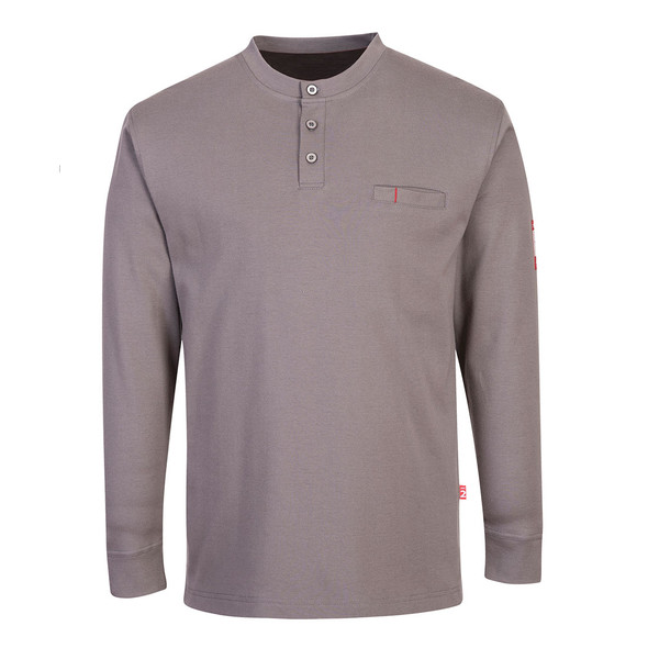 PortWest FR Anti-Static Henley FR32 Grey Front