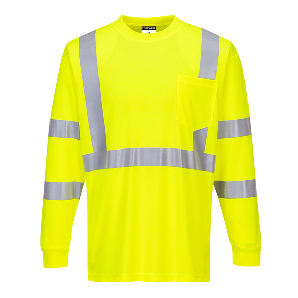 PortWest Class 3 Hi Vis Long Sleeve T-Shirt with Pocket S192 Yellow Front