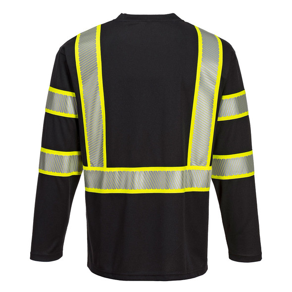 PortWest Enhanced Visibility Black Iona Long Sleeve T-Shirt with Pocket S346 Back