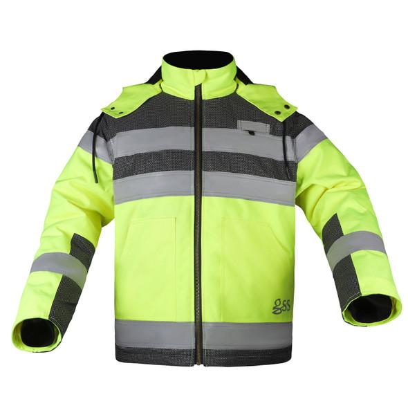 GSS Class 3 Hi Vis Lime Black Bottom Teflon Shield Jacket 8515 Front