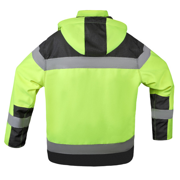 GSS Class 3 Hi Vis Lime Black Bottom ONYX QUARTZ Teflon Shield Safety Jacket 8515 Back
