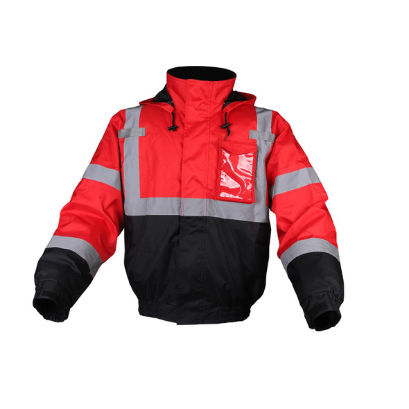 GSS Non-ANSI Enhanced Visibility Red Black Bottom Bomber Jacket 8014 Front Side