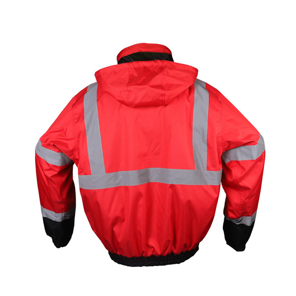 GSS Non-ANSI Enhanced Visibility Red Black Bottom Bomber Jacket 8014 Back Side