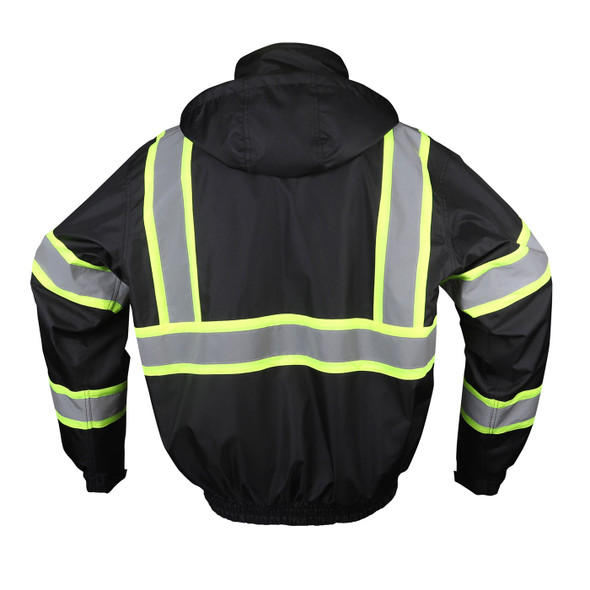 GSS Non-ANSI Enhanced Visibility Black Two-Tone Reflective Bomber Jacket 8011 Back
