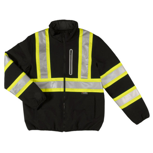 Tough Duck Class 1 Enhanced Visibility Two-Tone X-Back Black Reversible Safety Jacket SJ27BLK Front