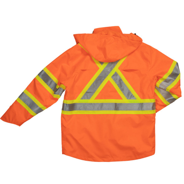 Tough Duck Class 3 Hi Vis Ripstop Rain Jacket SJ35 Back