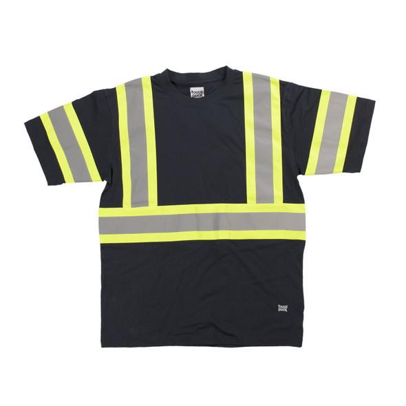 Tough Duck Class 1 Enhanced Visibility Black Safety X-Back T-Shirt ST11BLK Front