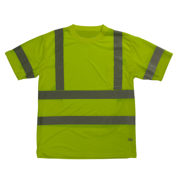 Tough Duck Class 3 Hi Vis T-Shirt with Segmented Reflective X-Back ST12 Green Front