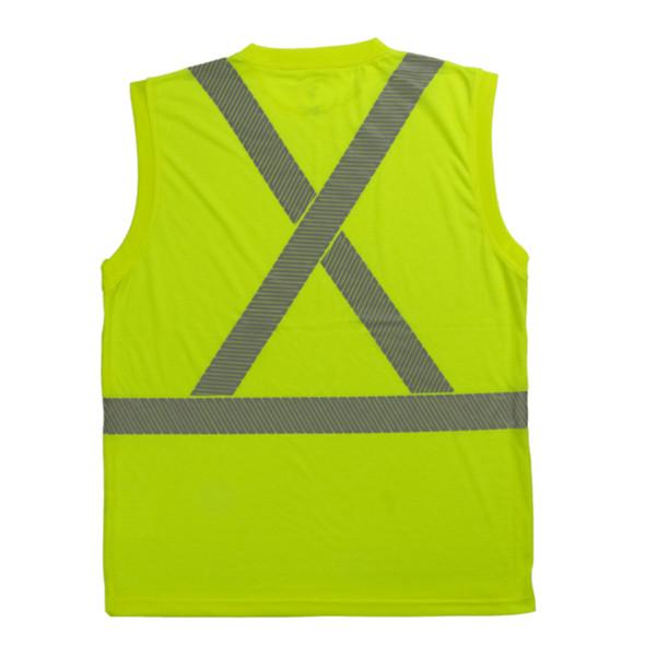 Tough Duck Class 2 Hi Vis Sleeveless T-Shirt with Segmented Reflective X-Back ST15 Green Back