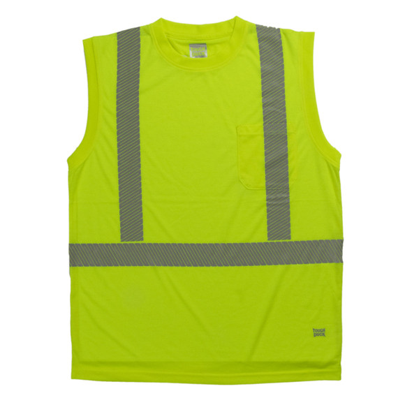 Tough Duck Class 2 Hi Vis Sleeveless T-Shirt with Segmented Reflective X-Back ST15 Green Front