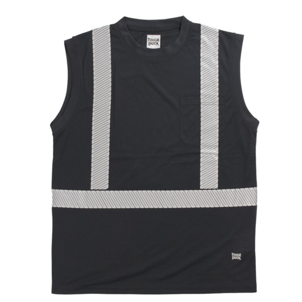 Tough Duck Class 1 Enhanced Visibility X-Back Black Sleeveless T-Shirt ST15BLK Front