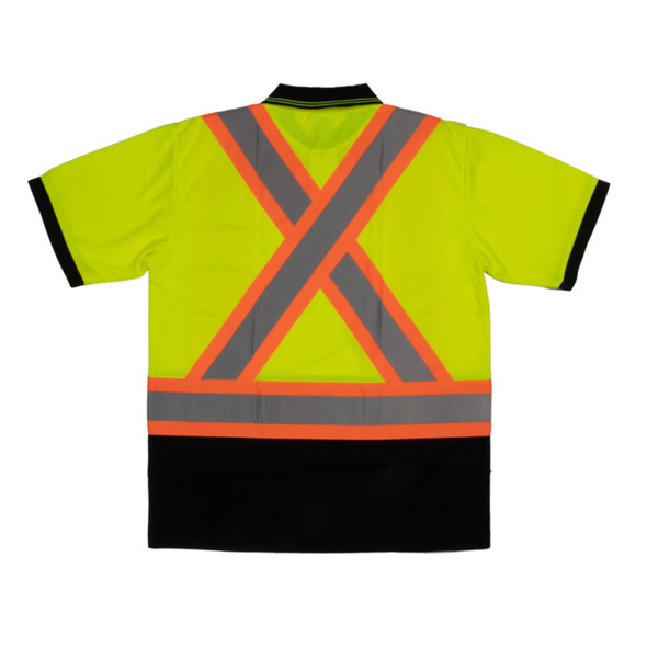 Tough Duck Class 2 Hi Vis X-Back Black Bottom Short Sleeve Polo Shirt ST17 Green Back