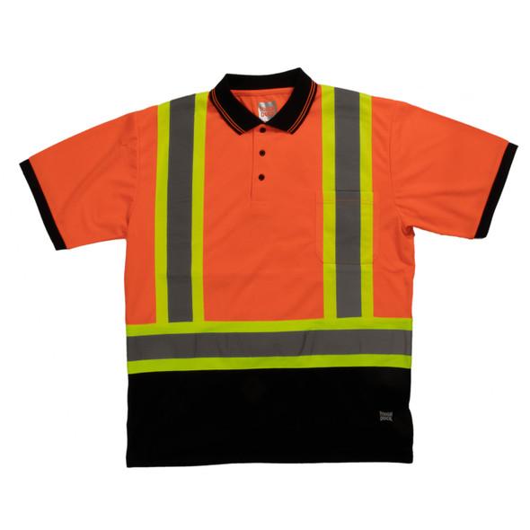 Tough Duck Class 2 Hi Vis X-Back Black Bottom Short Sleeve Polo Shirt ST17 Orange Front