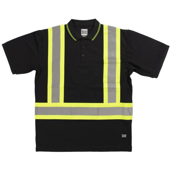 Tough Duck Class 1 Enhanced Visibility X-Back Black Short Sleeve Polo Shirt ST17BLK Front