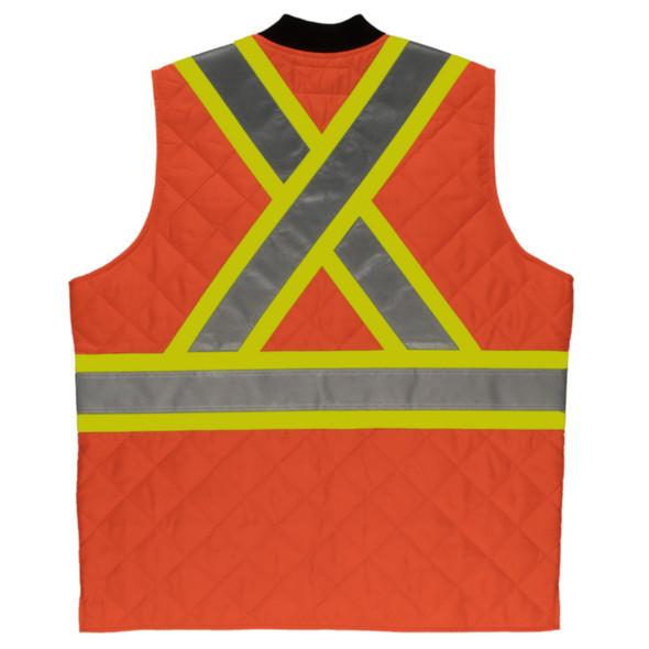 Tough Duck Class 2 Hi Vis Two-Tone X-Back Quilted Safety Vest SV05 Orange Back