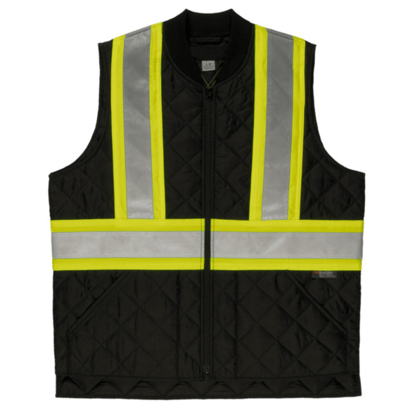 Tough Duck Class 1 Enhanced Visibility Two-Tone X-Back Quilted Safety Vest SV05BLK Front
