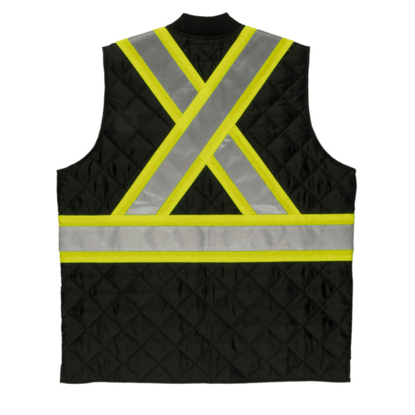 Tough Duck Class 1 Enhanced Visibility Two-Tone X-Back Quilted Safety Vest SV05BLK Back