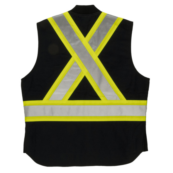 Tough Duck Class 1 Enhanced Visibility X-Back Black Duck Safety Vest SV06BLK Front