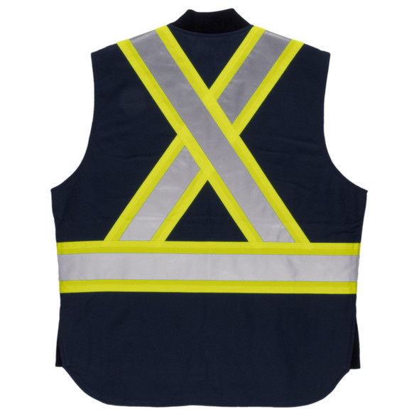 Tough Duck Class 1 Enhanced Visibility X-Back Navy Duck Safety Vest SV06NVY Back