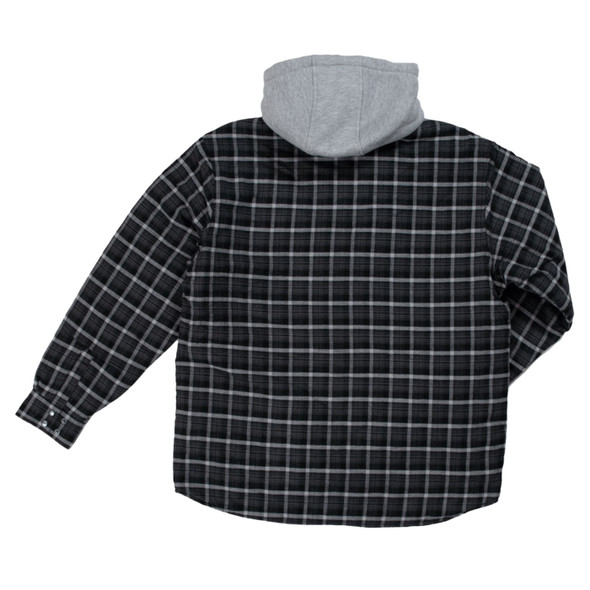 Tough Duck Quilt Lined Insulated Flannel Hooded Shirt WS06 Back Navy Plaid