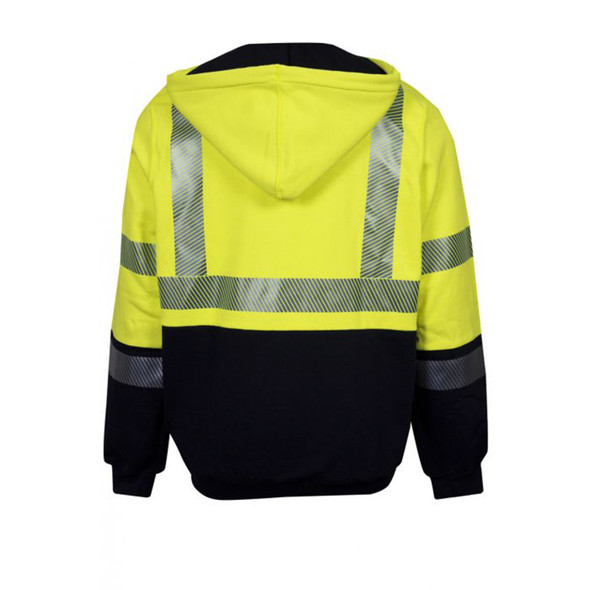 NSA FR Class 3 Hi Vis Yellow Black Bottom Waffle Lined Full Zip Hooded Sweatshirt C21HCWE08C3  Back