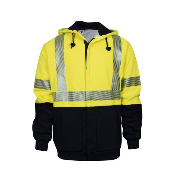 NSA FR Class 3 Hi Vis Yellow Black Bottom Made in USA Full Zip Hooded Sweatshirt C21HCWE08C3 Front