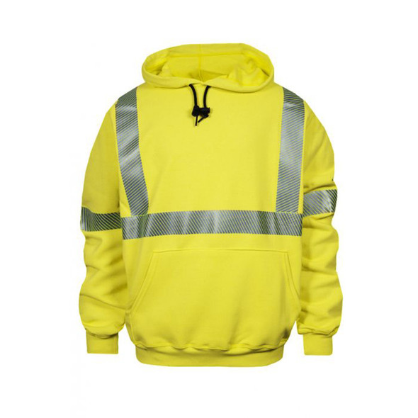 NSA FR Class 3 Hi Vis Yellow Made in USA Pullover Hooded Sweatshirt with Segmented Tape C21HC03C3