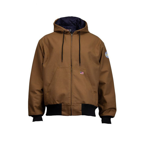 Union Line FR Brown Ultrasoft Duck Made in USA Hooded Jacket with Quilted Liner 30393-67 Front