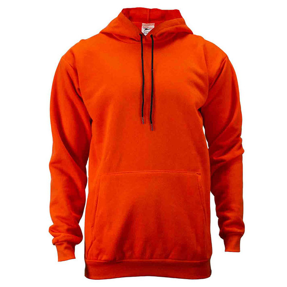 Union Line Non-ANSI Hi Vis Orange Ultrasoft Fleece Made in USA Hooded Sweatshirt 10250-65 Front