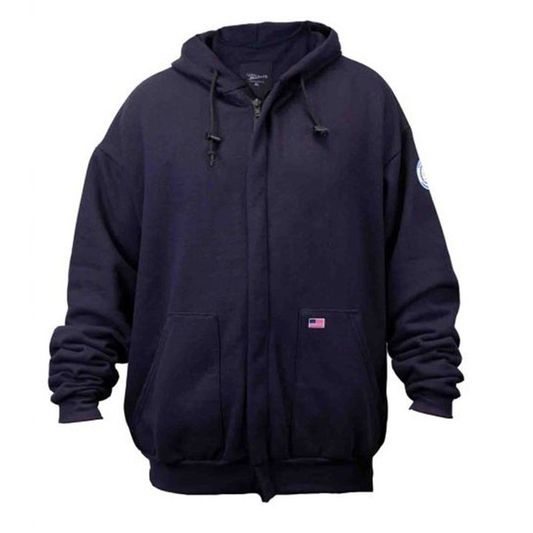 Union Line FR Navy Fleece Made in USA Hooded Zip Up Sweatshirt 10119 Front