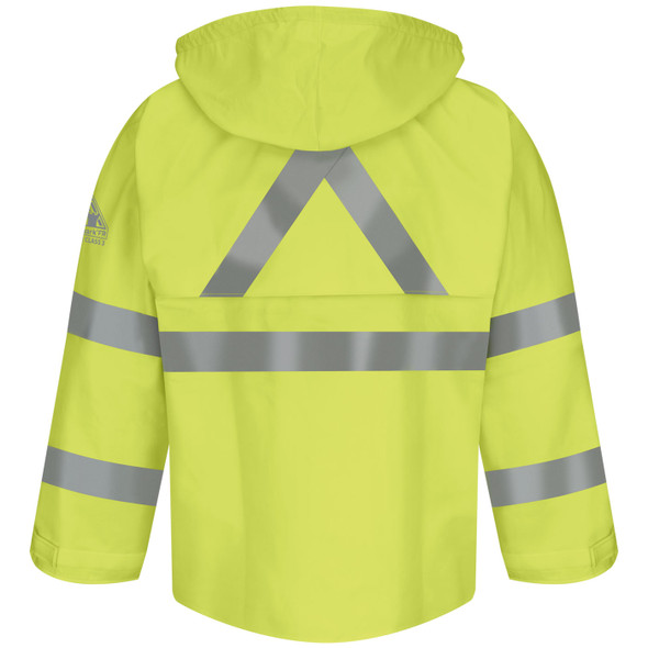 Bulwark FR Class 3 Hi Vis Yellow X-Back Rain Jacket JXN4 Back