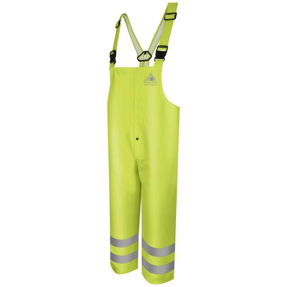 Bulwark FR Class E Hi Vis Yellow Rain Bib Overalls BXN4 Front
