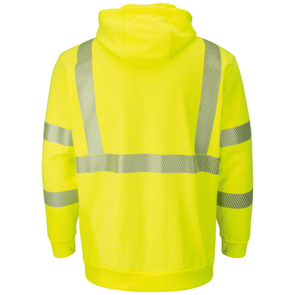 Bulwark FR Class 3 Hi Vis Yellow Pullover Hooded Sweatshirt SMH4 Back
