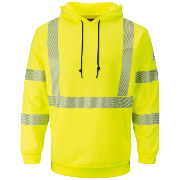 Bulwark FR Class 3 Hi Vis Yellow Pullover Hooded Sweatshirt SMH4 Front