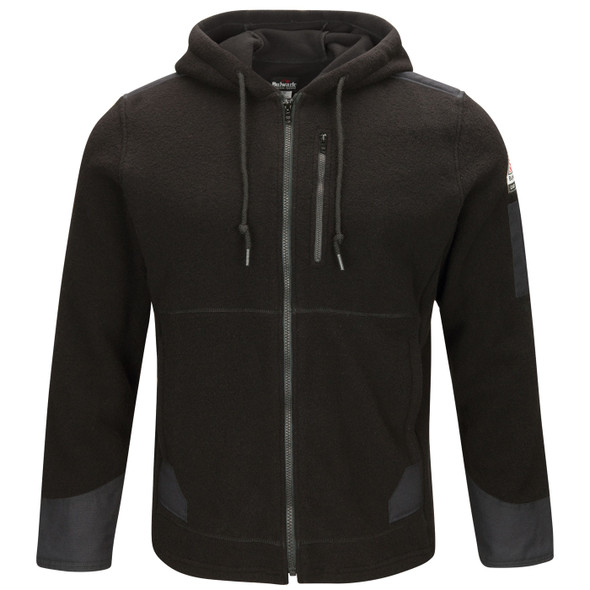 Bulwark FR Front Zip Modacrylic Blend Water Repellent Fleece Hoodie SMH8 Front