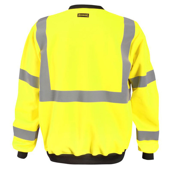 Occunomix Class 3 Hi Vis Yellow Crew Sweatshirt with Black Trim LUX-CSWT-Y Back