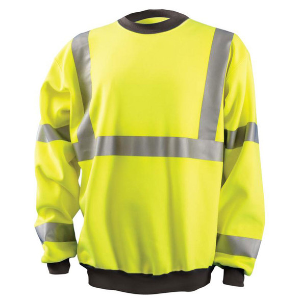 Occunomix Class 3 Hi Vis Yellow Crew Sweatshirt with Black Trim LUX-CSWT-Y Front