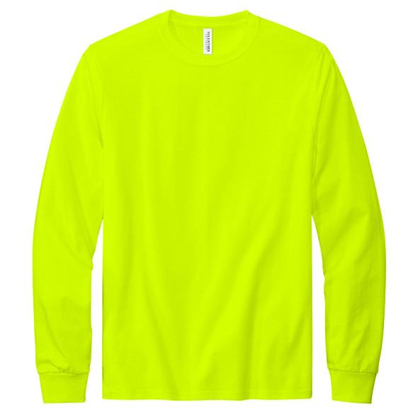 Safety Green Front - Volunteer Knitwear All American Long Sleeve Hi Vis T-Shirt VL100LS
