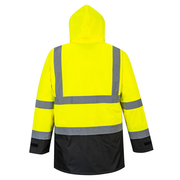 PortWest Class 3 Hi Vis 5-in-1 Executive Jacket US768YNR Yellow/Navy Back