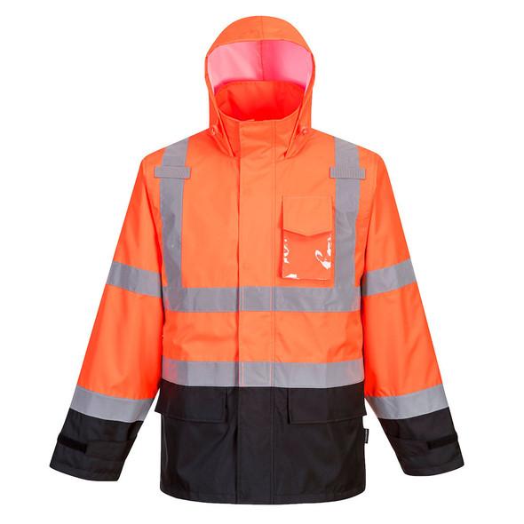 PortWest Class 3 Hi Vis Orange Black Bottom Rain Jacket US366OBR with Hood