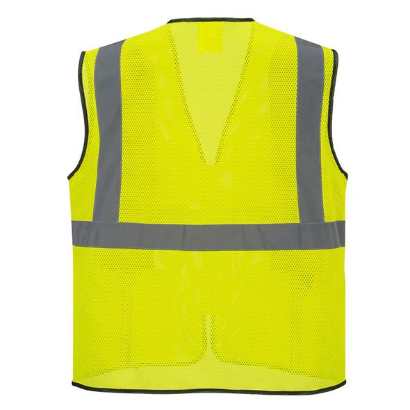 PortWest Class 2 Hi Vis Tampa Mesh Vest US380 Yellow Back