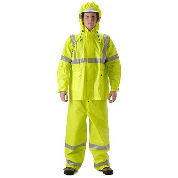 NASCO FR Class 3 Hi Vis ArcLite Nomex Rain Jacket with Made in USA Bib Trouser Set 1500-SET Jacket with Trouser