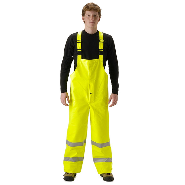 NASCO FR Class E Hi Vis Sentinel Arc Hydrocarbon Flash Fire Made in USA Bib Trouser 4501TF Yellow